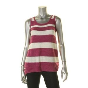 Cable & Gauge Striped Sleeveless Tank Top Sweater